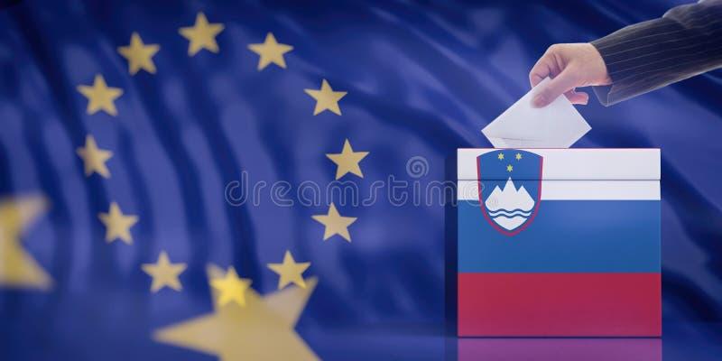 Mano che inserisce una busta in un'urna della bandiera della Slovenia sul fondo della bandiera di Unione Europea illustrazione 3D royalty illustrazione gratis