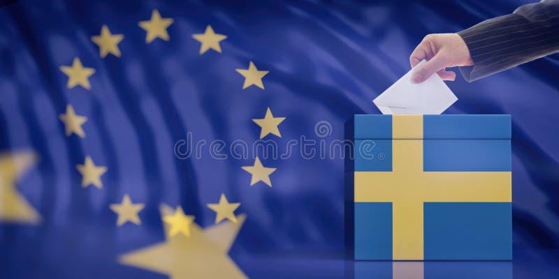 Mano che inserisce una busta in un'urna della bandiera della Svezia sul fondo della bandiera di Unione Europea illustrazione 3D illustrazione vettoriale