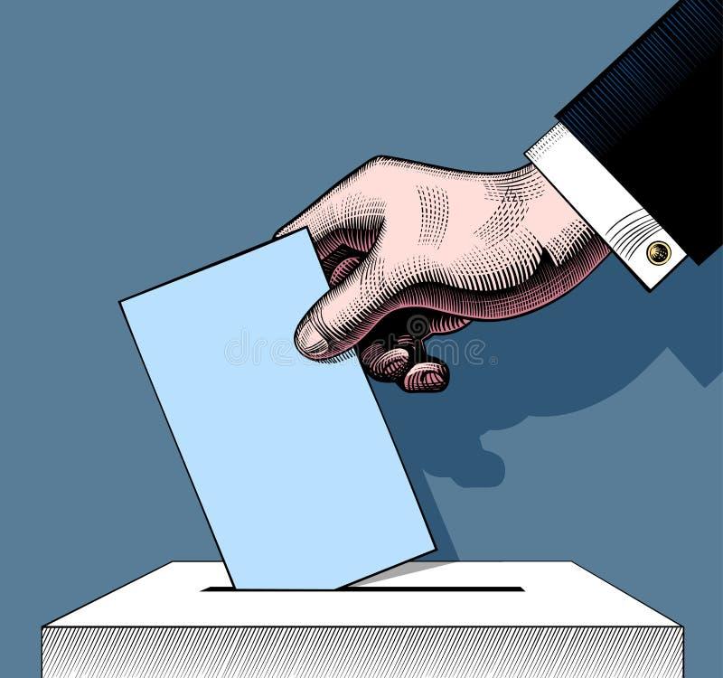 Mano che mette scheda di votazione nell'urna S d'incisione d'annata illustrazione vettoriale