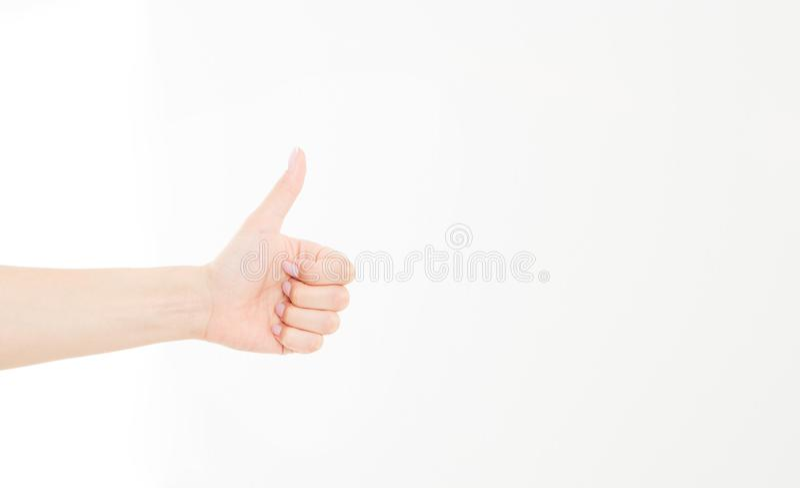 mano che mostra uno o come il conteggio isolato su fondo bianco Derisione su Copi lo spazio mascherina blank immagini stock libere da diritti