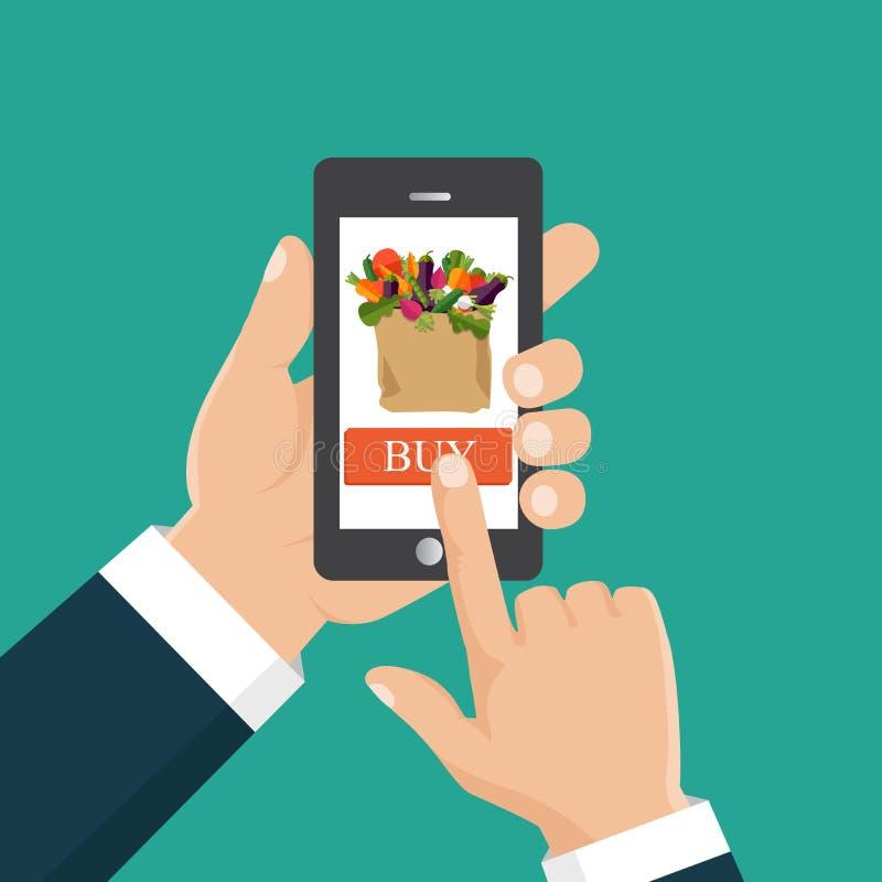 Mano che ordina lo smartphone della tenuta dell'alimento fresco con il canestro dell'alimento sul royalty illustrazione gratis