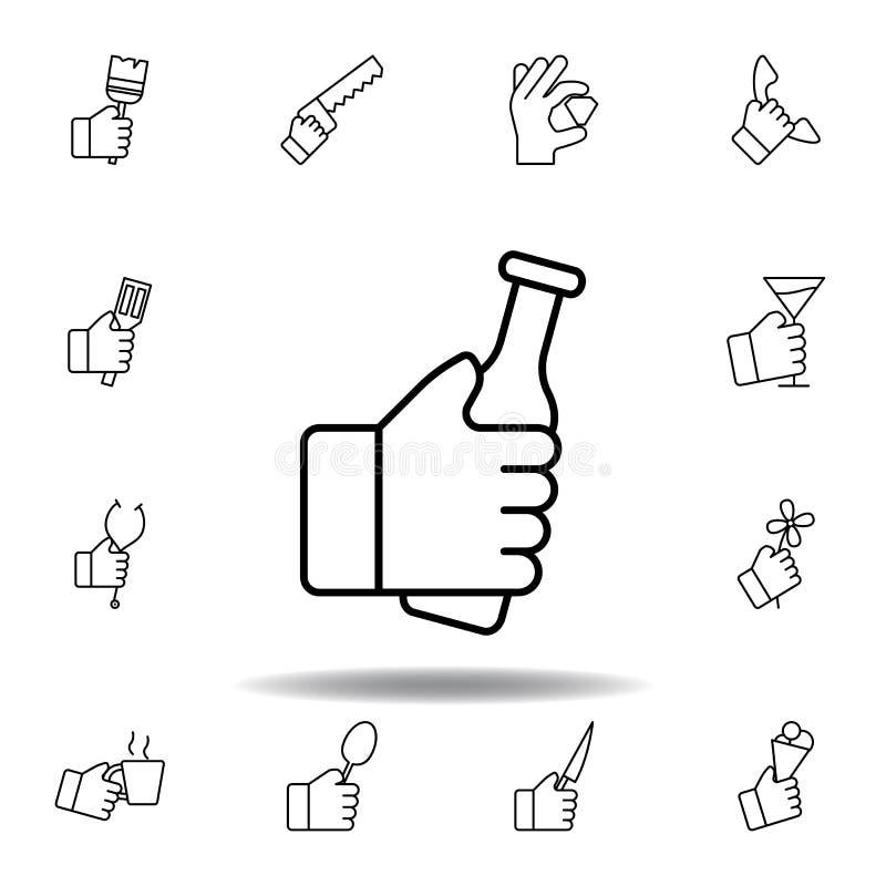 Mano che ostacola l'icona del profilo della bottiglia Metta dell'illustrazione dei gesturies della mano I segni ed i simboli poss illustrazione vettoriale