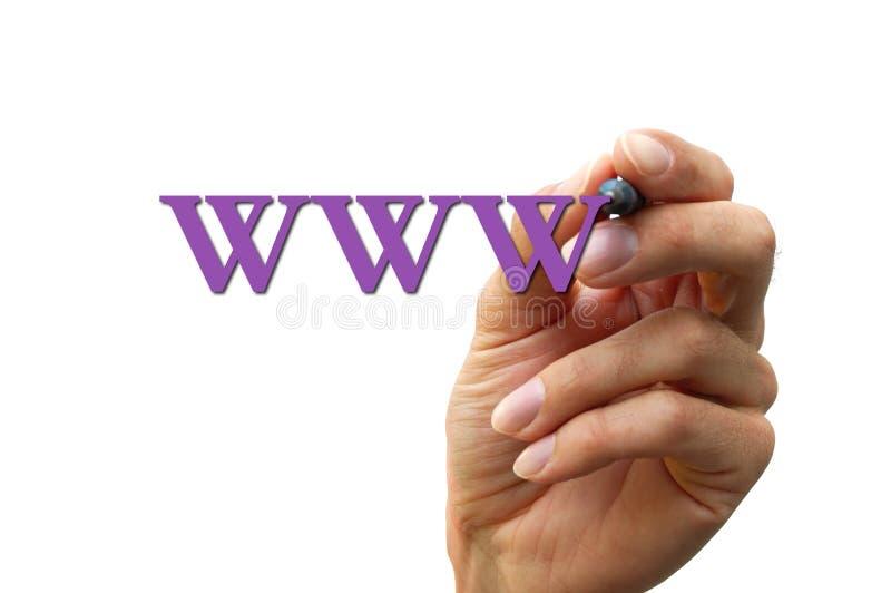 Mano che scrive la lettera WWW fotografia stock libera da diritti