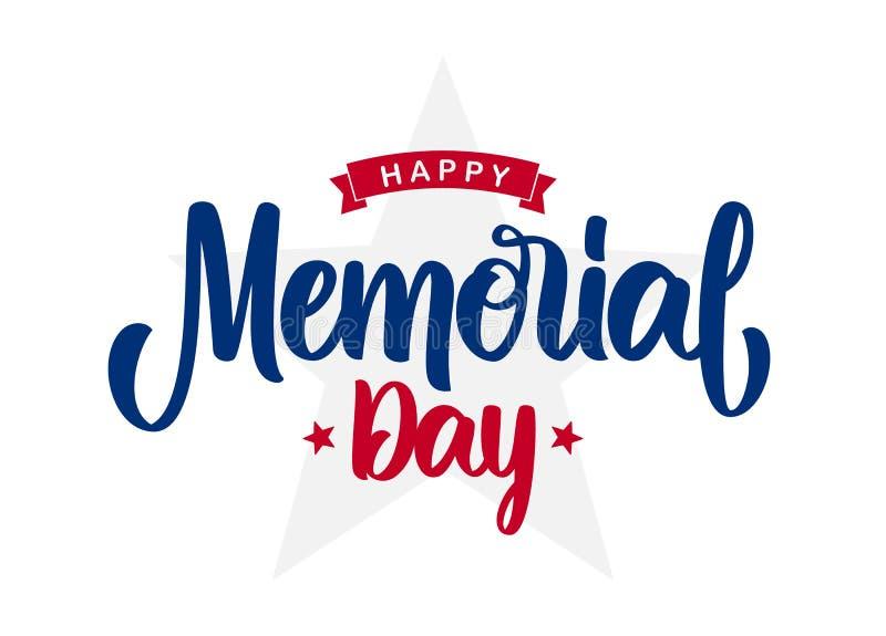 Mano che segna composizione di Memorial Day felice con il nastro e le stelle con lettere su fondo bianco royalty illustrazione gratis