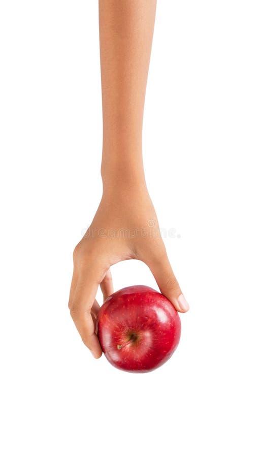 Mano che tiene Apple rosso VI fotografie stock libere da diritti