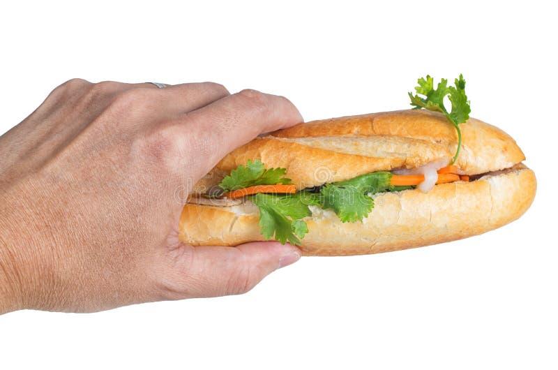 Mano che tiene Banh MI, panino vietnamita immagini stock libere da diritti