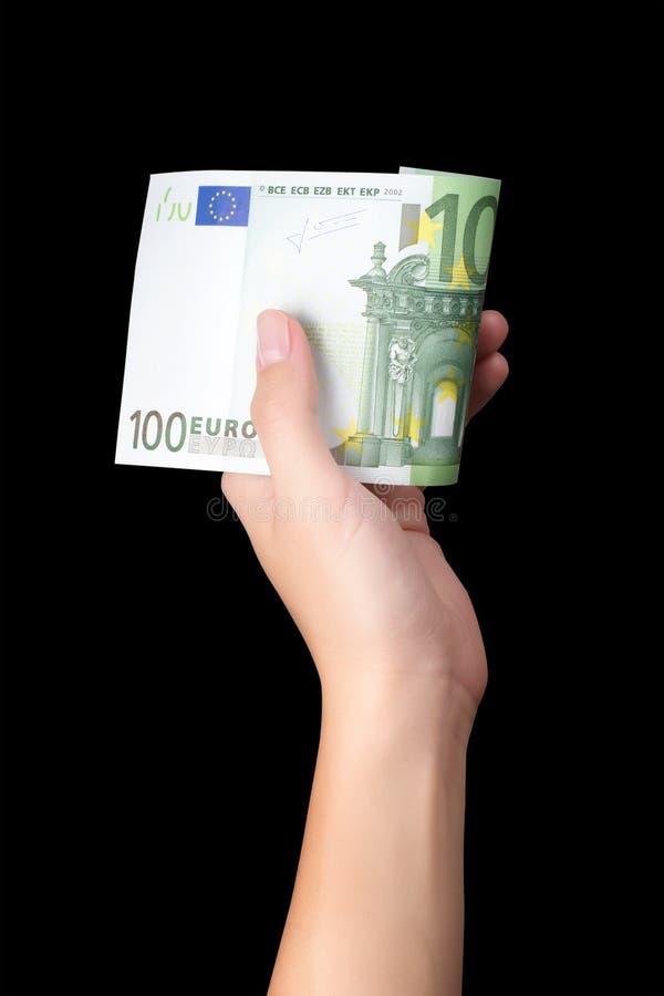 Mano che tiene cento euro immagine stock libera da diritti