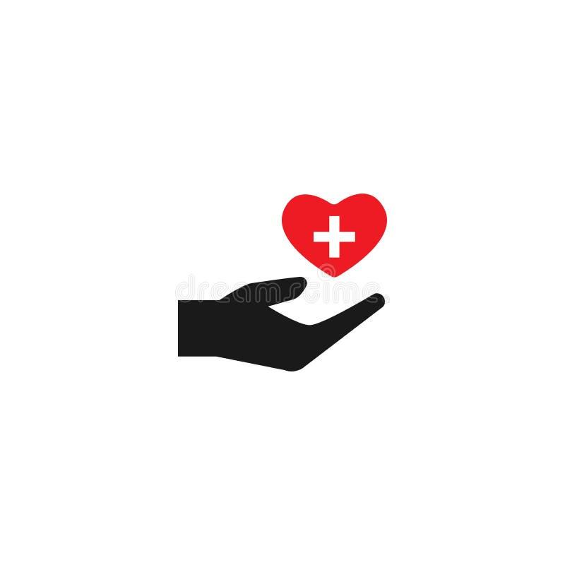 Mano che tiene cuore rosso su fondo bianco carità, filantropia, dante aiuto, illustrazione di stock