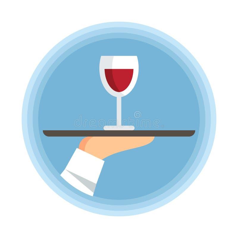 Mano che tiene l'illustrazione piana di vetro di vettore del vino illustrazione vettoriale