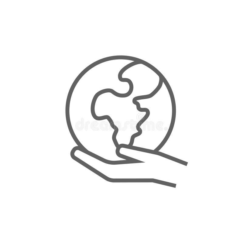 Mano che tiene la linea icona della terra illustrazione vettoriale