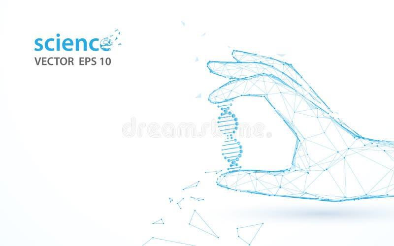Mano che tiene le linee della forma della struttura del DNA, i triangoli e progettazione di stile della particella illustrazione di stock