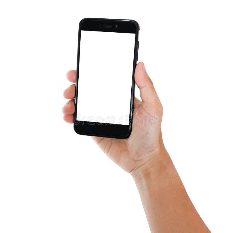 Mano che tiene lo smartphone immagini stock