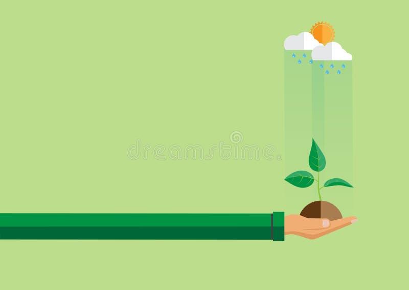 Mano che tiene pianta verde nello stile piano illustrazione vettoriale