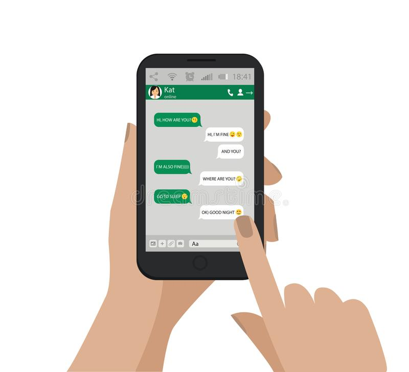 Mano Che Tiene Telefono Mobile Emoji Fumetti Verdi Di Chiacchierata Vettore  Illustrazione di Stock - Illustrazione di verde, risata: 100562052