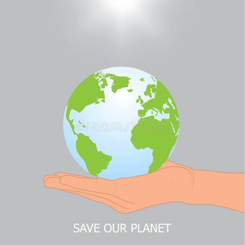 Mano che tiene terra con luce solare, concetto ambientale royalty illustrazione gratis