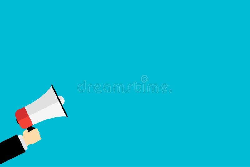 mano che tiene un'icona del megafono per l'annuncio del mercato illustrazione vettoriale