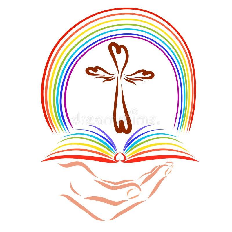 Mano che tiene un libro aperto con un incrocio e un arcobaleno illustrazione di stock