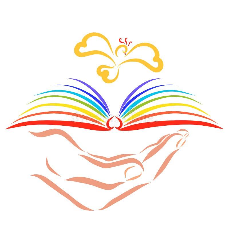Mano che tiene un libro con le pagine dell'arcobaleno sopra cui un uccello vola illustrazione di stock