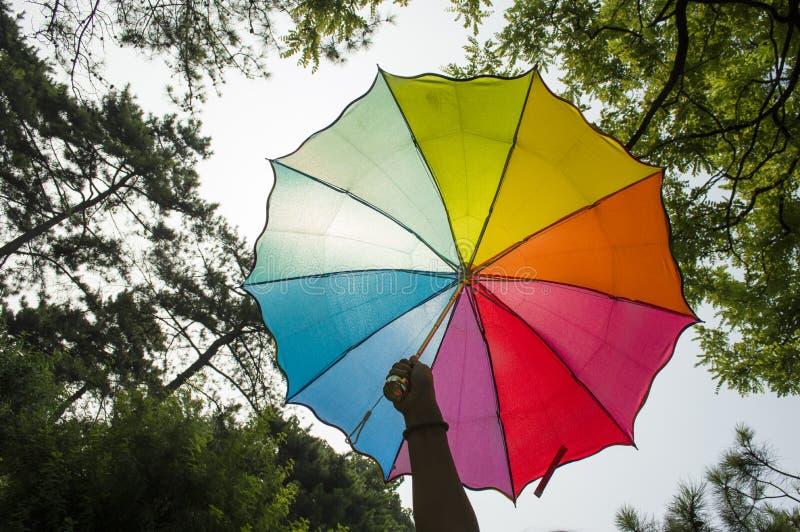 Mano che tiene un ombrello dell'arcobaleno fotografia stock libera da diritti