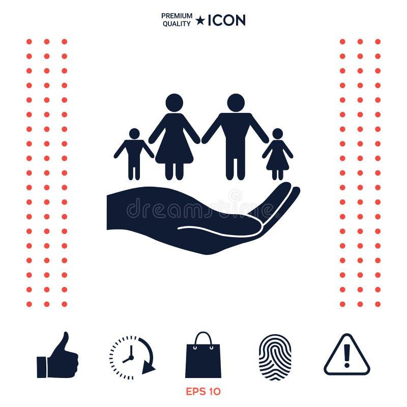 Download Mano Che Tiene Un Simbolo Della Famiglia La Famiglia Protegge L'icona Illustrazione Vettoriale - Illustrazione di pensione, rotondo: 117975245