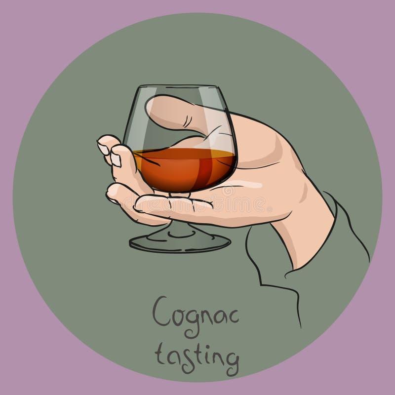 Mano che tiene un vetro del cognac illustrazione di stock