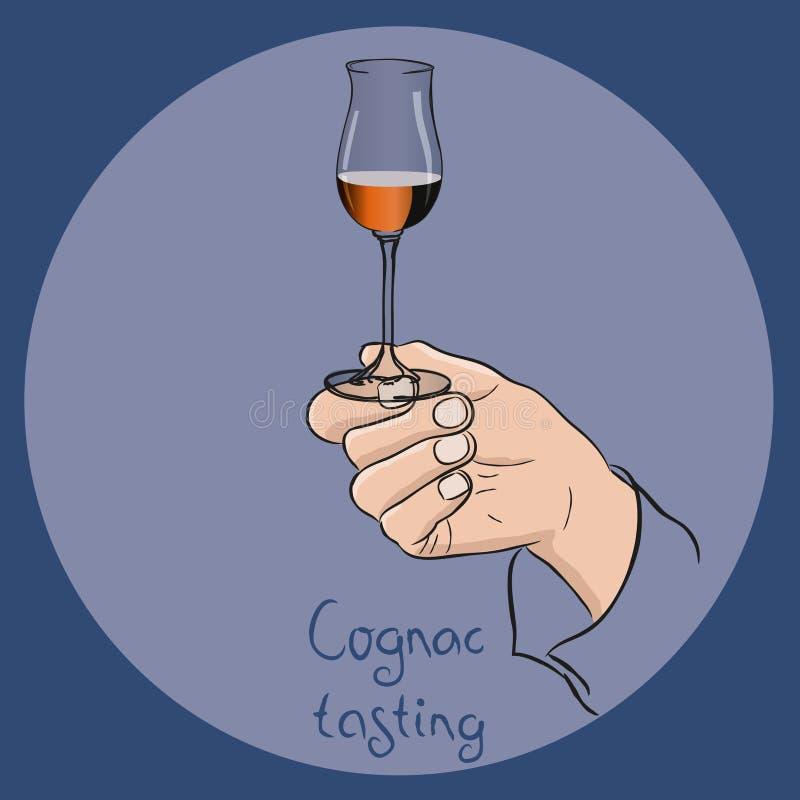 Mano che tiene un vetro del cognac royalty illustrazione gratis