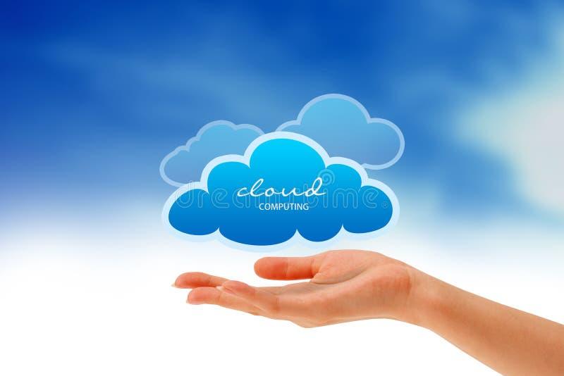 Mano che tiene una nube illustrazione vettoriale