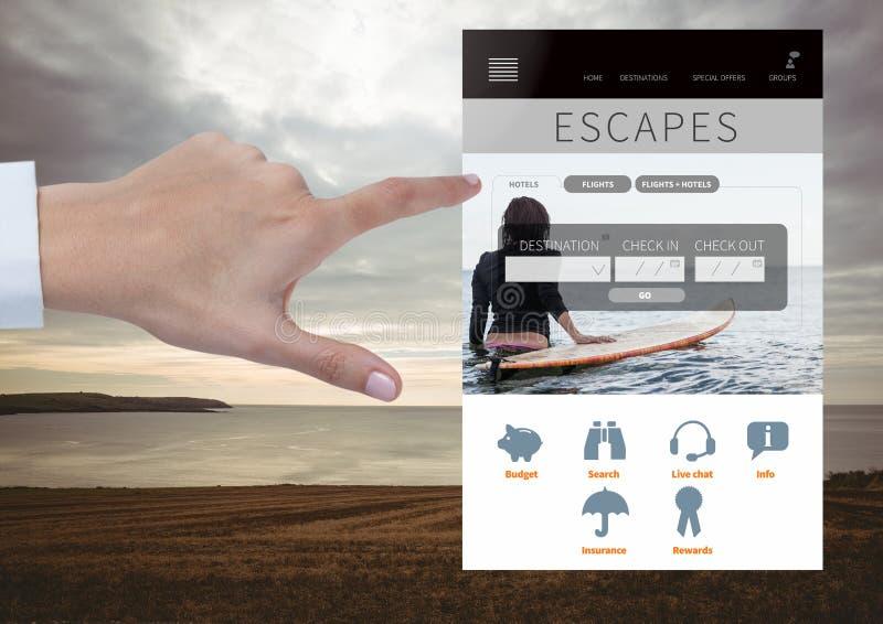 Mano che tocca l'interfaccia di App dell'ozio di fughe con il mare fotografie stock