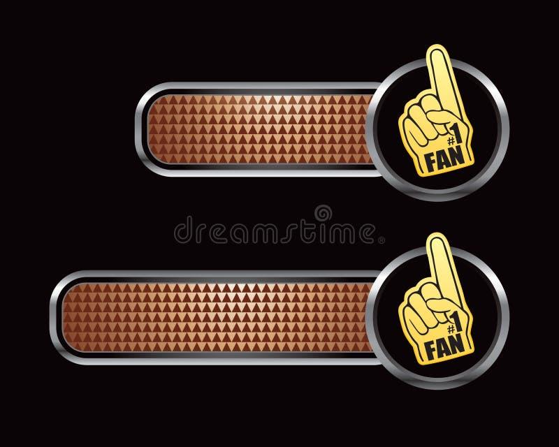 Mano checkered de bronce del ventilador de deportes de las tabulaciones stock de ilustración