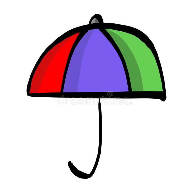 Mano colorida del bosquejo del ejemplo del vector del paraguas dibujada con bla ilustración del vector
