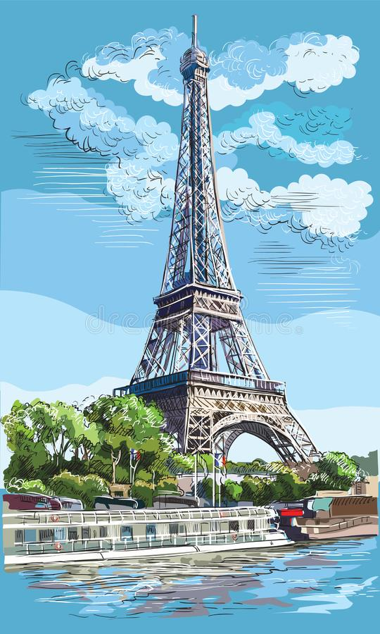 Mano colorida del vector que dibuja París 1 libre illustration