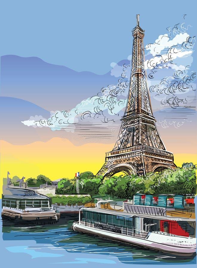 Mano colorida del vector que dibuja París 3 ilustración del vector