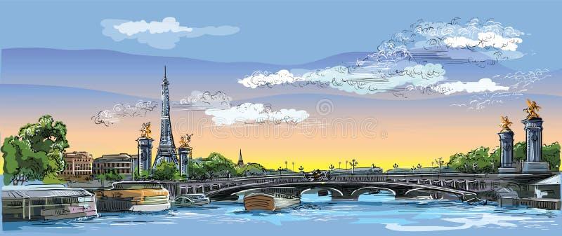 Mano colorida del vector que dibuja París 4 ilustración del vector