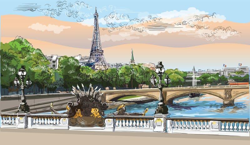 Mano colorida del vector que dibuja París 8 ilustración del vector