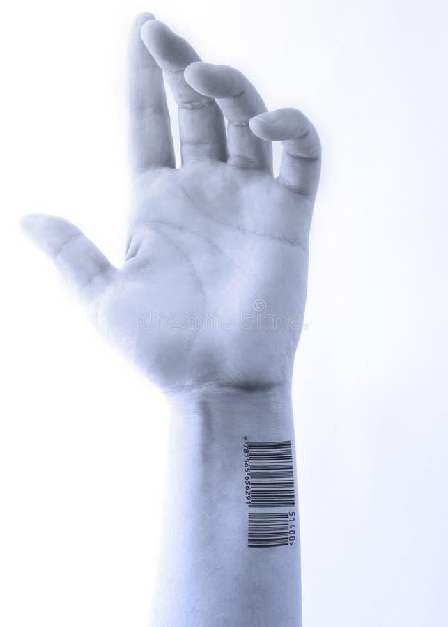 Mano con código de barras azulada imagen de archivo libre de regalías