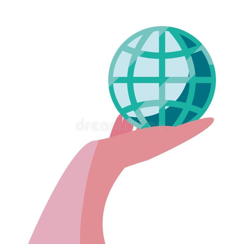 Mano con commercio mondiale royalty illustrazione gratis
