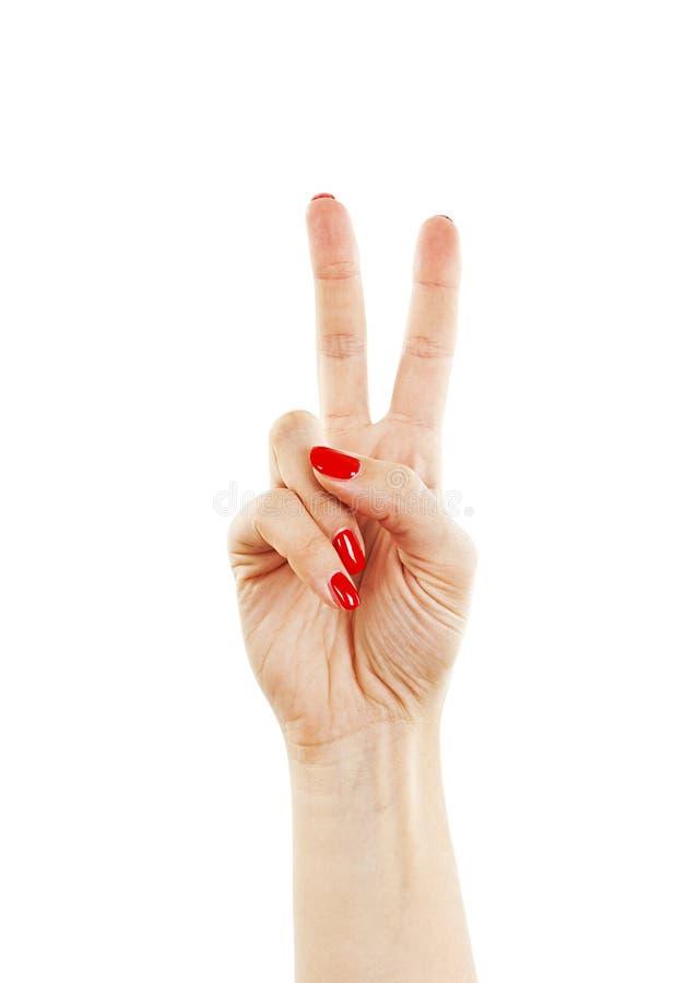 Mano con due dita su nel simbolo di vittoria o di pace fotografie stock