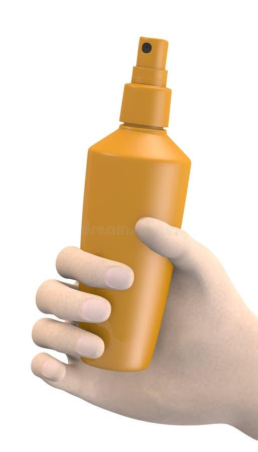 Mano con el aerosol stock de ilustración