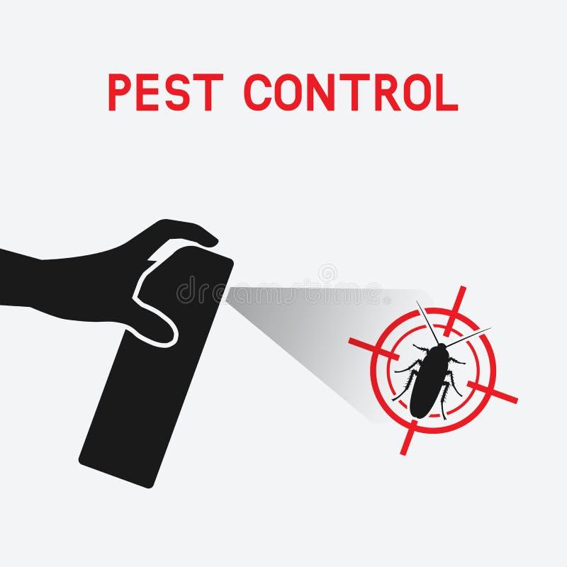 Mano con el aerosol exterminación de cucarachas stock de ilustración