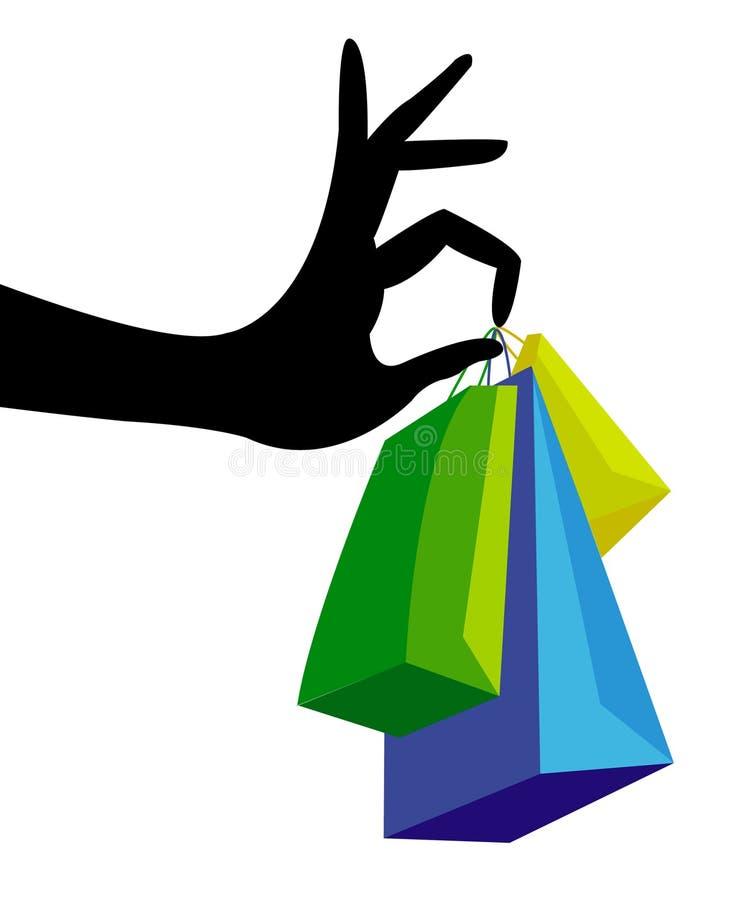 Mano con el bolso de compras ilustración del vector