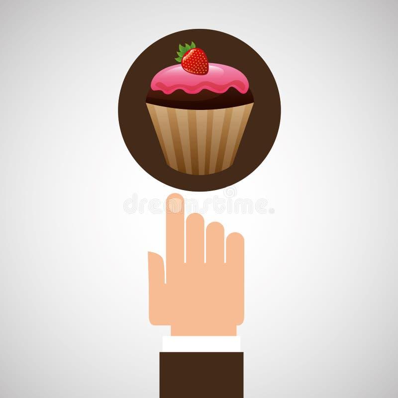 Mano con el chocolate delicioso de la fresa de la magdalena libre illustration
