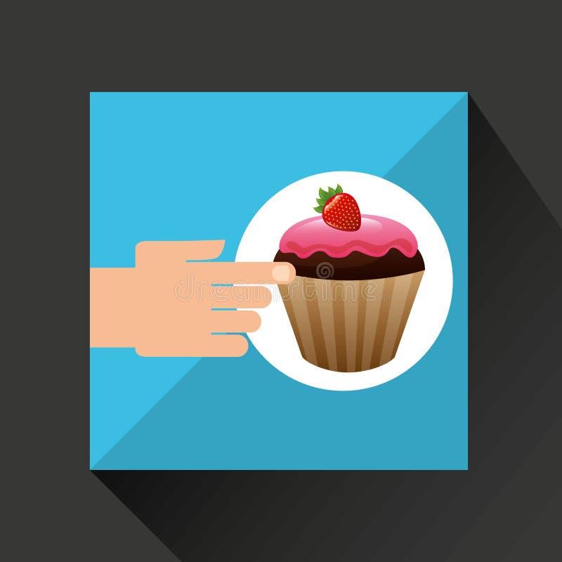 Mano con el chocolate delicioso de la fresa de la magdalena ilustración del vector