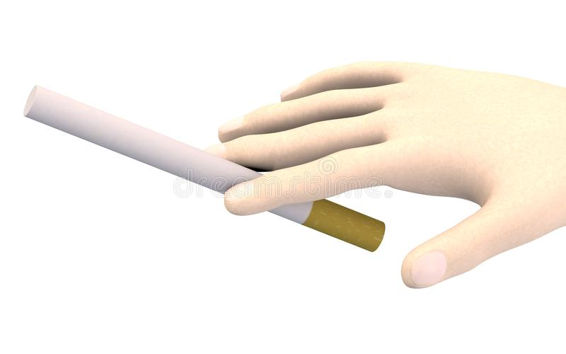Mano con el cigarrillo stock de ilustración