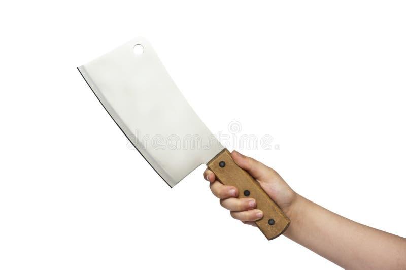 Mano con el cuchillo de cocina fotos de archivo