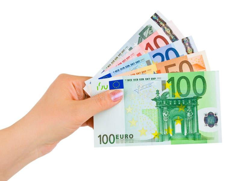 Mano con el dinero euro fotografía de archivo libre de regalías