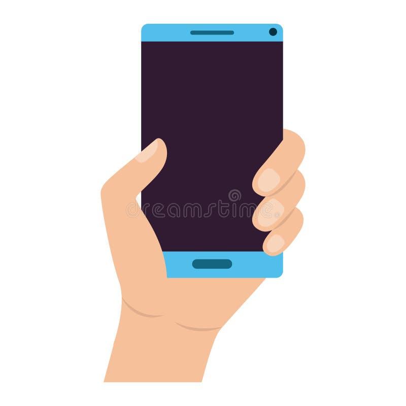 Mano con el dispositivo del smartphone ilustración del vector