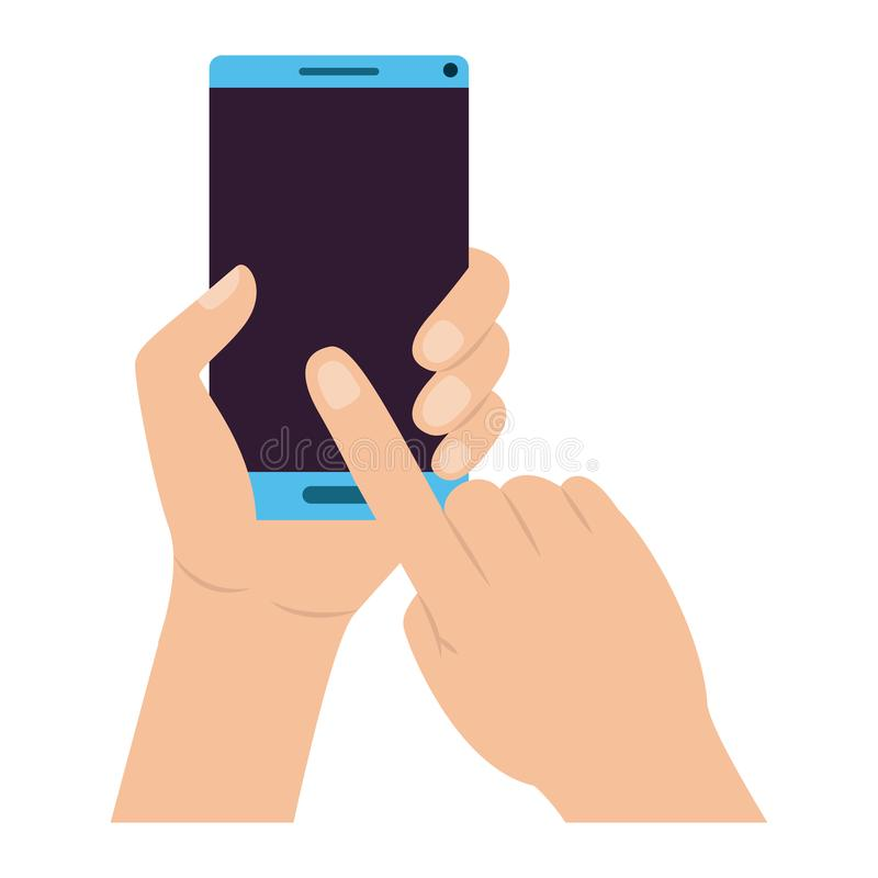 Mano con el dispositivo del smartphone stock de ilustración