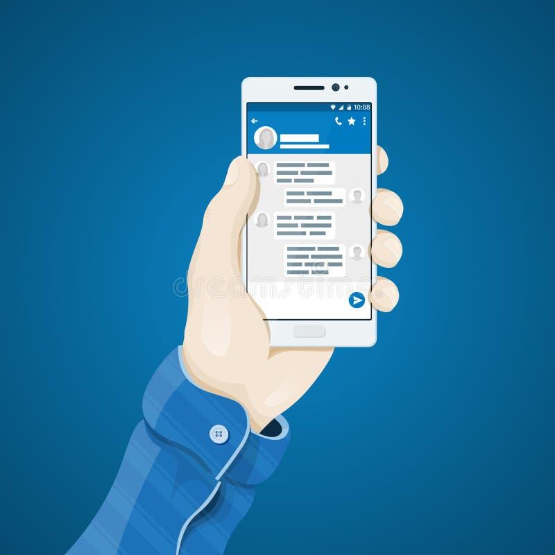 Mano con el ejemplo del vector del teléfono en estilo plano La mano del hombre que lleva a cabo un concepto del teléfono stock de ilustración