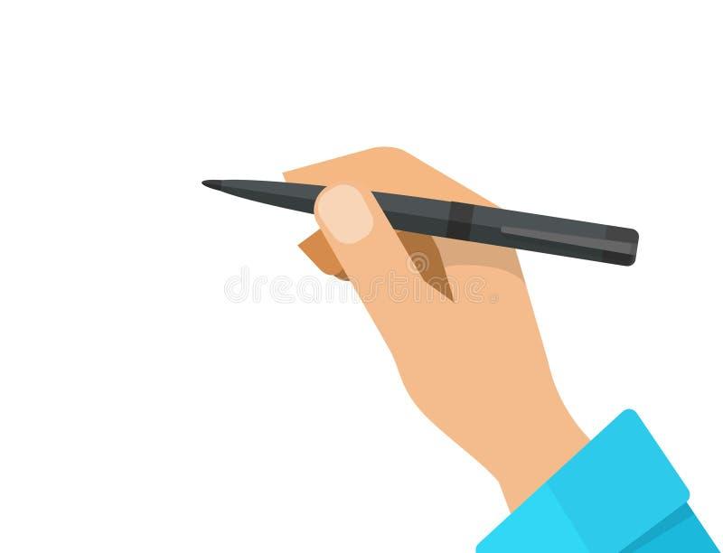 Mano con el ejemplo del vector del lápiz, pluma de tenencia plana de la mano de la historieta aislada en el clipart blanco ilustración del vector