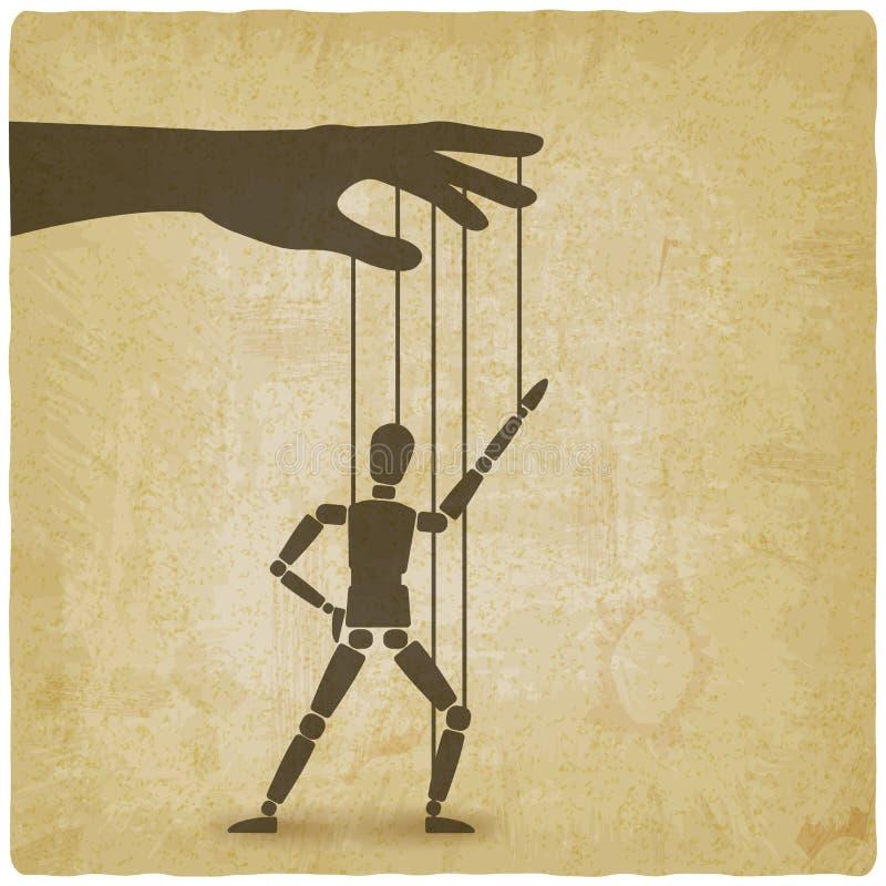 Mano con el fondo del vintage de la marioneta del baile stock de ilustración